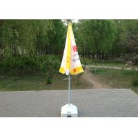 Yellow And White Sun Beach Umbrella Uv Protection With Screen Printed