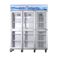 Wholesale High Efficiency Commercial 6 Glass Door Refrigerator Fan Cooling Dual Compressor from china suppliers