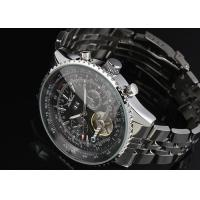 Wholesale Steampunk Skeleton Tourbillon Automatic Watch Silver , Stainless Steel Watch from china suppliers