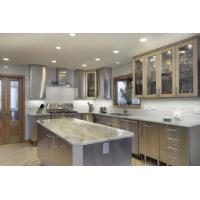 Buy cheap L - Shape Stainless Steel Kitchen With Glass Door / Natural Quartz Stone Countertop from wholesalers