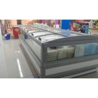Wholesale Gray R404a Supermarket  Island Freezer Cabinet With Curve Glass Sliding Open from china suppliers