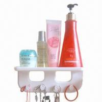 Buy cheap Plastic Removable Wall Mounted Bathroom Shelf with Hooks from wholesalers