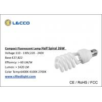 Wholesale 8000H Half Spiral Cfl Fluorescent Bulbs E27 Base Tricolor For Shop / Office from china suppliers