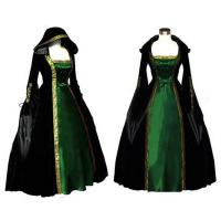 Wholesale Medieval Dress Wholesale Long Sleeve ROCOCO Ball Grown Gothic Medieval Victorian in Green and Black by Satin and Velvet from china suppliers