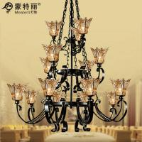 Wholesale Hotel / Home Furnishing Wrought Iron Large Hotel Chandeliers with Metal and Glass from china suppliers
