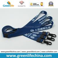 Wholesale Custom Logo Blue Lanyards with Custom Black Plating Metal Crimp and Snap Hook from china suppliers