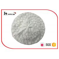 Wholesale Winter Ladies White Slouchy Knit Beret , Hollow Design Simple Style Beret from china suppliers