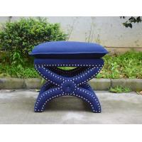 Wholesale Antique square stool cross leg solid wood ottoman with cushion Toscane Upholstered Nailhead Stool from china suppliers