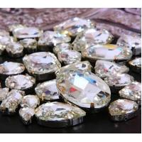 Buy cheap preset mounted crystal rhinestone fancy jems rhinestone navette oval 10*14 from wholesalers