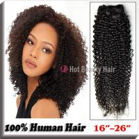 Wholesale Kinky Curly Indian Remy Hair Extensions Tangle-Free 14 Inch Black from china suppliers