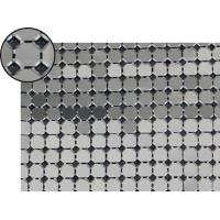 A piece of metallic fabric cloth with 8mm flat octagon shape and bright silver color.