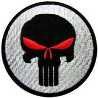Wholesale Punisher Red Eyes Skull Seal Navy Sniper Paintball Guns Embroidered Iron on Patch from china suppliers