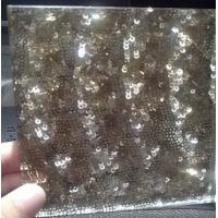 Wholesale Golden Frosted Fabric Laminated Glass , Glass Partition For Wardrobe Door from china suppliers