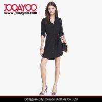 Wholesale New Style Black Long Sleeves Button Front Casual Shirt Dress from china suppliers