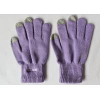 Wholesale Hand Warm Winter Touch Screen Gloves Purple Knitted Wrist Touch Screen Gloves For iPhone / PC from china suppliers