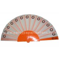 Quality Logo Design Printed Fabric Hand Fan For Weddings , Birthday Celebrations for sale