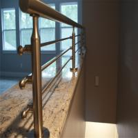 Wholesale Outdoor metal railing systems with oak wooden handrail design from china suppliers