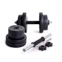 Wholesale full weight  black cement dumbbell set wirh rubber bar collars from china suppliers