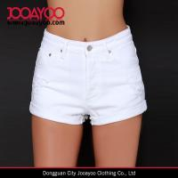 Wholesale Five Pocket Raw Hem Mink Pink White Out White Distressed Denim Shorts from china suppliers
