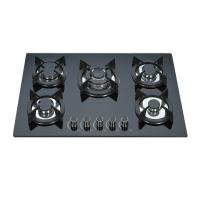 Wholesale Black Tempered Glass Top Gas Hob 5 Burner Gas Cooktop Cast Iron Pan Support from china suppliers