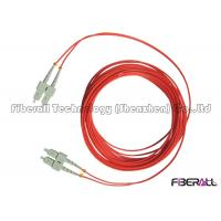 Wholesale Red Jacket Fibre Optic Patch Leads , Multimode Fiber Optic Cable With SC MM Connector from china suppliers