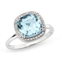Wholesale Blue Topaz and Diamond 14K White Gold Ring from china suppliers