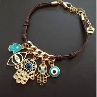 Wholesale PRIMERO Fashion Jewelry Charm Sliver Hamsa Hand Eye of Fatima palm Woven Bracelet Rope Bracelet Hamsa hand from china suppliers