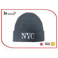 Wholesale 2D Machine Embroidery Letter Men Knit Cap Grey Billed Knit Hat from china suppliers