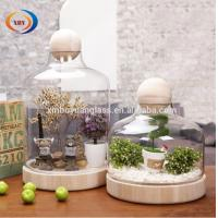 Wholesale Hanging flower glass vase air plant votive with wooden base and ball from china suppliers