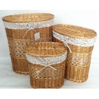 Quality oral natural color willow wicker laundry basket with lid set of 3, leaf liner for sale