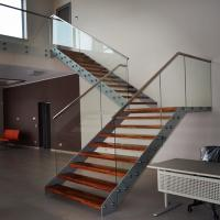 Wholesale Double Beam Straight Staircase Design With Glass Railing and Wood Tread from china suppliers