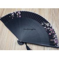 Wholesale 22cm Carving Black Japanese Hand Fan Handmade Decorative Folding Fans from china suppliers