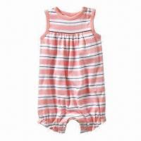 Wholesale Baby Girl's Sleeveless with Full Tripe Romper, Made of Cotton, OEM and ODM Orders are Welcome from china suppliers