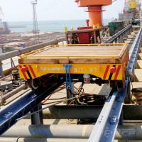 Wholesale Large ship machine parts handling motorised transfer trolley on rails from china suppliers