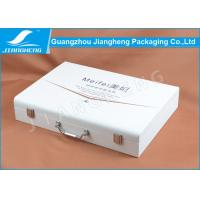 Hot Stamped Logo Perfume Packaging Boxes , White PU Leather Gift Wooden Box