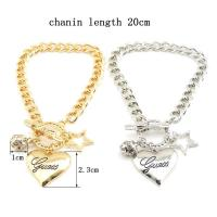Wholesale New Fashion Hot sale popular five star and heart shape gold and silver love bracelet from china suppliers