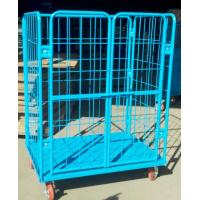 Quality Iron Cage / Wire Roll Container Collapsible Rolling Cart With Plastic Powdered for sale