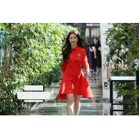 Quality fashion turn down collar mid-length sleeves ladies dresses red color for sale