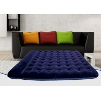 Wholesale Foldable PVC Flocked Air Bed Luxury Dark Blue Double Inflatable Mattress Built-In Pillow from china suppliers
