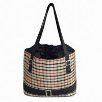 Wholesale Lunch bag with main compartment drawstring closure and leather handle looks more fashoinble from china suppliers