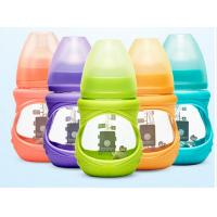 Quality Customized Silicone Sleeve Baby Milk Bottle Glass High Temperature Resistant for sale