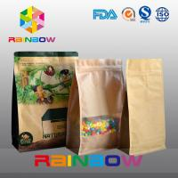 Wholesale Customized Stand Up Kraft Paper Bag , Flat Bottom Guesst Bag For Dry Food / Candy With Zipper from china suppliers