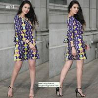 Wholesale flower and phoenix patterns printed women fashion short dress with puff sleeve in off shoulder from china suppliers