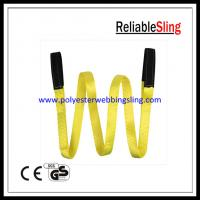 Wholesale 1 Ton - 25 Ton Flat eye polyester lifting slings , double ply duplex webbing sling from china suppliers