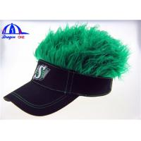 Wholesale Black Cotton Lady's Sun Visor Hats With Green Fake Hairs And Embroidery Logo from china suppliers