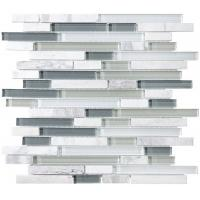 Wholesale Bliss Iceland Linear Glass And Marble Mosaic Tile , Recycled Bathroom Glass Tiles from china suppliers