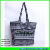 Wholesale LUDA lady fashion enthic straw tote bag white&black canvas beach totes from china suppliers