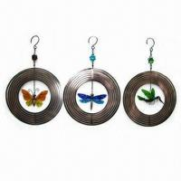 Wholesale Wind Chimes, Fusion Glass Insect with Metal Ring-stripes, OEM Orders are Welcome from china suppliers