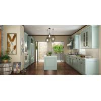 Wholesale Villa Fashion Style Green Color Pvc Kitchen Furniture U - Shape With Island Bench from china suppliers