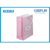 Wholesale Pink White Striped Cardboard Packaging Gift Bags / Kraft Paper Bags from china suppliers